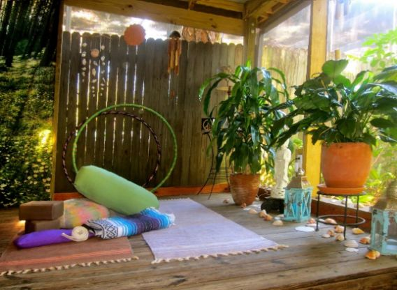 yoga and meditation on patio