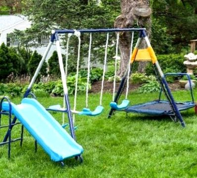 small swingset with trampoline