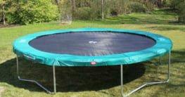 trampoline on lawn