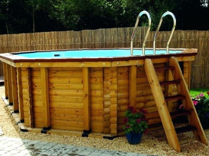 above ground wooden pool